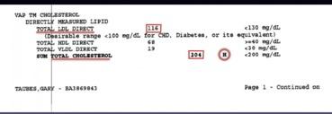 valori colesterolo